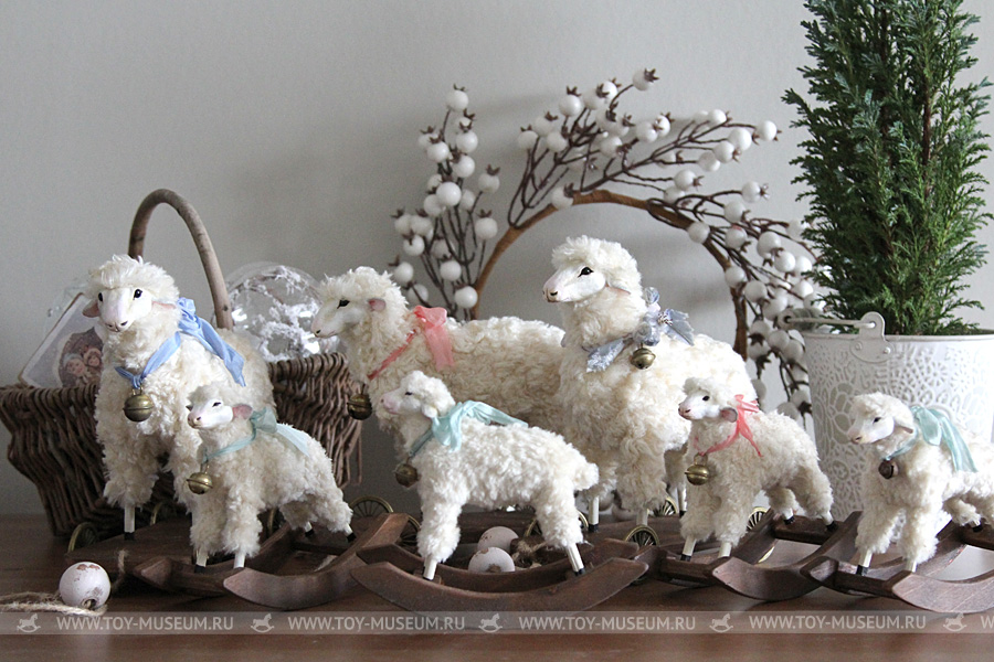 Toys of my creation. Modern replica Vintage Christmas sheep.